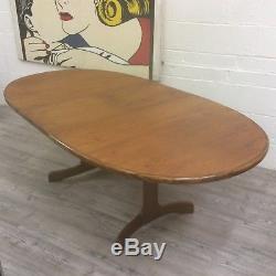 Grande Table De Salle À Manger Ovale Vintage, Plan Teck, Rétro, Mi-siècle, Cuisine