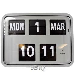 Grayson Gris Clair Rétro Flip Clock Banque Horloge Hall Calendrier Horloge G231