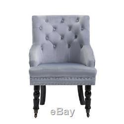 Gris Capitonné De Velours Clouté Dining Chair Accent Side Fauteuil Canapé Siège Chambre