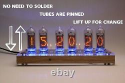 Horloge De Tube Nixie Avec Tubes In-14 Et Support En Chêne Date De Température À Distance