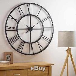 Horloge Murale Squelette Chiffres Extra-larges 60cm Grand Visage Géant Ouvert Rond