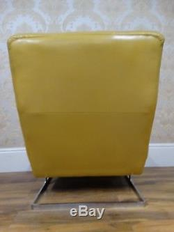 Hou La La! Sur La Tendance Vintage MID C Bright Citron Jaune Fauteuil En Cuir Chaise Longue
