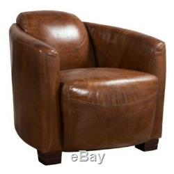 Hudson Fauteuil Lombo Style Luxe Rétro Distressed Cuir Tan