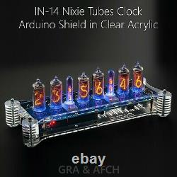 In-14 Arduino Shield Nixie Tubes Clock In Acrylic Case Temp Capteur Gps Remote