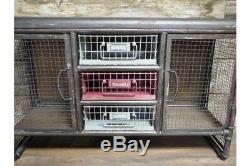 Industrial Gris Stockage Vintage Métal Cabinet 3 Tiroirs 2 Portes Cabinet Side