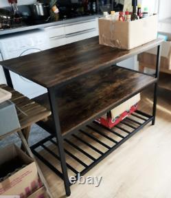 Industrial Kitchen Island Vintage Storage Table Rustic Metal Grande Armoire