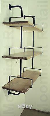 Industrial Urban Style Galvanized Steel Pipe Book Shelf Storage En Bois, Nouveau Bs-13