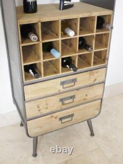 Industriel Retro Vintage Métal Bois Régénérés Vin Boissons Bar De Cabinet (dx3957)