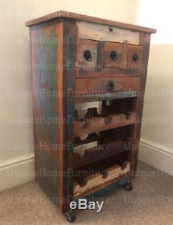 Industriel Vin Cabinet Rustique Rack En Bois Massif Boissons En Métal Chariot Vintage Panier