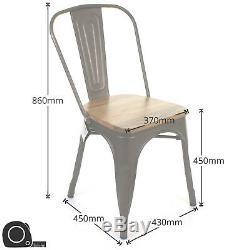 Jeu De 4 Gun Metal Grey Industrial Chaise Cuisine Bistro Café Vintage Seat