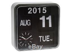 Karlsson Mini Flip Argent Horloge Calendrier Numérique Élégant Designer Timepiece