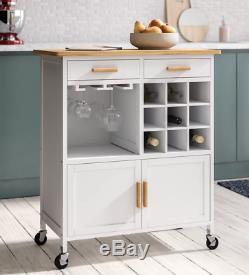Kitchen Island Trolley Boissons Vin Panier Armoire De Rangement Table En Bois Unité De Porte