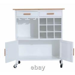 Kitchen Trolley Island Wine Drinks Cart Armoire De Rangement Table Wooden Door Unit