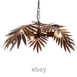 La Noix De Coco Tropicale Laisse Lustre Unique Rustique Plafond De Lampe D'arbre S'accrochant La Lumière