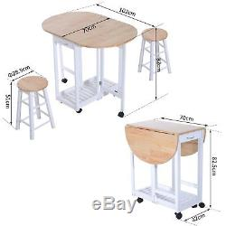 La Petite Table De Salle À Manger De Cuisine Et Chaises Placent Le Chariot Se Pliant D'île Roule 2 Tabourets