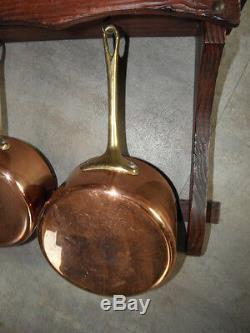 Laiton Vintage Cuivre Set 4 Casseroles Casseroles Pots Faire Sauter Rétro Présentoir En Bois