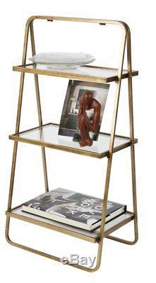 Les Étagères En Verre D'affichage D'échelle De Bibliothèque Vintage Étagère En Métal En Laiton Antique De 3 Niveaux