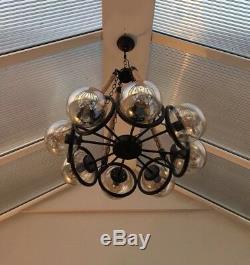 Lustre De Plafond À Led En Corde De Chanvre Vintage Vintage Rétro Rustique Rustique 8 Verre