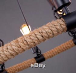 Lustre Lumière Moderne Rustique Vintage Rétro Industrielle Corde De Corde En Métal