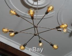 Lustre Spoutnik En Laiton Moderne À 10 Bras De Lumière En Laiton Chromé