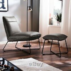Luvchairs Soho Gris Retro Vintage En Cuir Industriel Occasionnels Lounge Chair