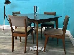 MID Siècle Rétro Vintage Alfred Cox Noyer Table À Manger Et Chaises Assorties