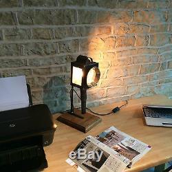 Main Vintage Rustique Français Antique Table Bureau Lampe Transport Unique