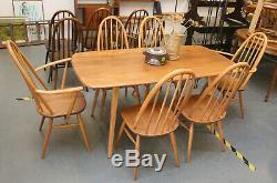 Milieu Du Siècle Ercol Windsor Plank Table, 6 Chaises De Salle À Manger Quaker, Cuisine, Rétro