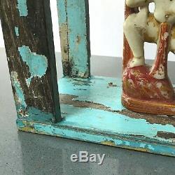 Mobilier Indien Antique / Vintage. Unité D'affichage Arquée En Teck. Bleu Bébé Et Champignons