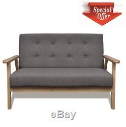 Moderne 2 Places Petit Canapé Couch Banc Gris Tissu De Coussin En Bois Intérieur D'extérieur