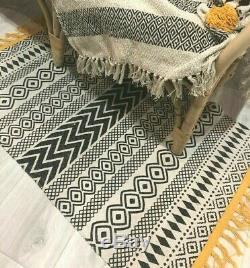 Monochrome Scandi Boho Tapis Tapis Tissé Coton Imprimé Géométrique Frangée Glands
