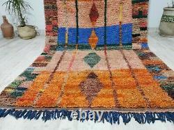 Moroccan Vintage Boujaad Tapis De Laine Fait Main 5'2x8'5 Tapis Orange Tribal Berbère
