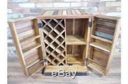 Moyenne Bois Maison-régénérés Bar Drinks Cabinet Style Industriel Vin Unité De Stockage