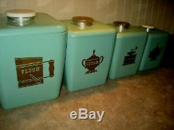 Nesting Vintage Aqua Turquoise Canister Set 1950 En Plastique Avec Couvercles Retro Cuisine