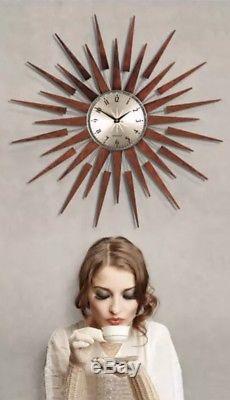 Newgate XL Pluto Sunburst Analogique Décoratif Rétro Vintage Horloge Murale Moderne Bnib