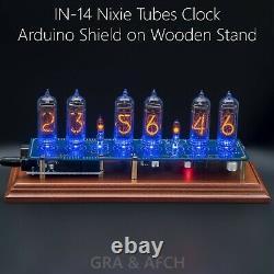 Nixie Horloge Arduino In-14 Bouclier Ncs314 Sur Stand En Bois 12/24h Gra - Afch