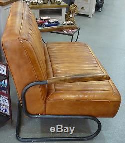 Nouveau Retro Vintage 2 Deux Places En Cuir De Cuir En Cuir Canapé Canapé Settee 50's Rear Seat