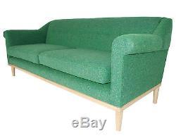 Nouveau Sofa Fait Main D'eames De Handbuilt Dans La Tweed Verte Avec La Garniture En Bois