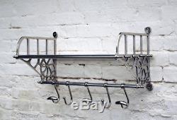 Nouveau Support De Mur De Bagage De Hall De Train De Style Rétro Vintage Avec Étagère Et Crochets