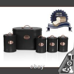 Oval Bread Bin 5pc Ensemble Avec Biscuit, Thé, Café, Boîtes À Sucre Vintage Noir