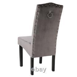 Paire / 4x Velvet Chaise Avec Heurtoir Cuisine Rétro Rembourré À Dos Rehaussé Siège