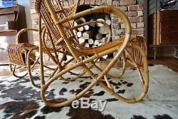 Paire De Fauteuils Mid-century En Bambou Retro Vintage Mid-century