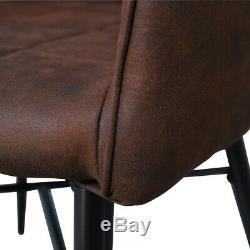 Paire De Retro Faux Cuir Repas Chaises Brown Fauteuils Cuisine Chaise De Bureau