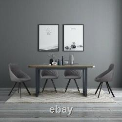 Paire Grey Dining Chairs Faux Leather/pu Metal Leg Kitchen Dining Room Retro