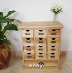 Petit Apothicaire Cabinet En Bois Rustique Chest Tiroirs Vintage Affinez Unité De Stockage