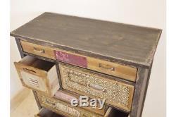 Plaques De Texte Vintage Avec Compartiment En Bois Coloré Rustique Pour Armoire De Rangement À 8 Tiroirs