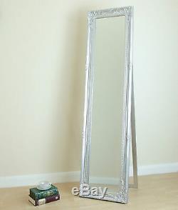 Portland Rétractable Cheval Roccoco Shabby Chic Long Miroir Argent 170cmx45cm