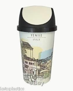 Poubelle De Balançoire 50l, Poubelle De Cuisine, Rétro, Vintage Style Venise Design Shabby Chic