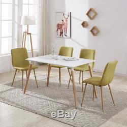 Rectangulaire Blanc Table À Manger 4/6 Chaises Set Rétro Design Bois Métal Nouveau
