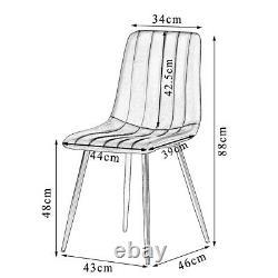 Rétro 2 4 6 Chaises À Manger Soft Velvet Rembourré Siège Black Metal Legs Kitchen Room